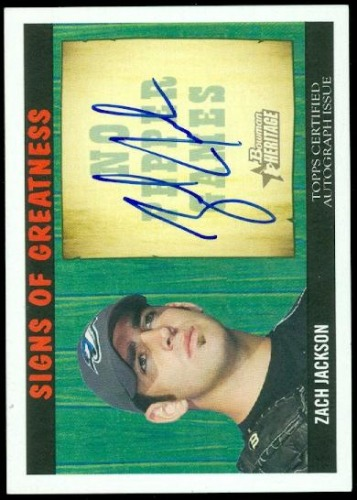 Photo of 2005 Bowman Heritage Signs of Greatness #ZJ Zach Jackson A