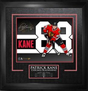 Patrick Kane - Signed & Framed 11x14 Etched Mat - Skyline Chicago Blackhawks