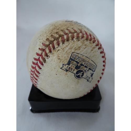 Photo of Game-Used Hit Baseball - Pitcher: Shane Greene, Batter: Adonis Garcia - Single - 10/1/16 - Final Series at Turner Field