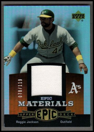 Photo of 2006 Upper Deck Epic Materials Dark Orange #RE2 Reggie Jackson Jsy/119