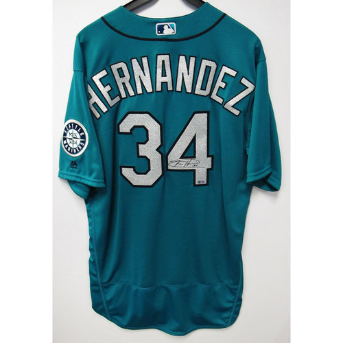 Photo of Felix Hernandez 2016 Green Autographed Clubhouse Issued Jersey - Size 50