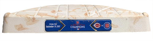 Photo of Game-Used 2nd Base -- Cubs vs. Reds -- 9/29/17 -- Used Innings 5 & 6