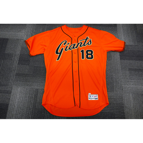 Photo of San Francisco Giants - 2017 Game-Used Orange Alt Jersey - worn by #18 Matt Cain on 9/29/17 - (Size: 50)