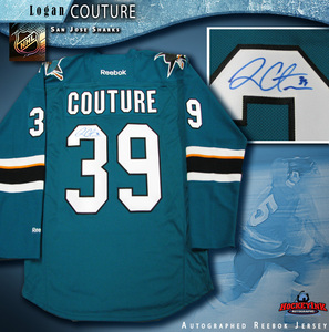 LOGAN COUTURE Signed San Jose Sharks Teal Reebok New Style Jersey
