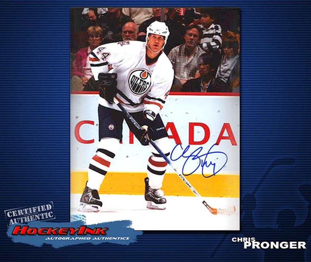 CHRIS PRONGER Signed Edmonton Oilers 8 X 10 Photo - 70290