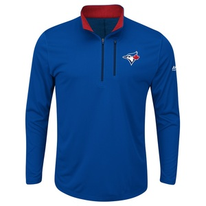 Toronto Blue Jays Six-Four-Three 1/4 Zip Long Sleeve Shirt by Majestic