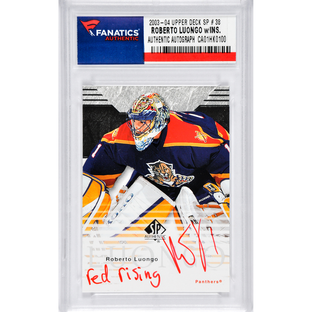 Roberto Luongo Florida Panthers Autographed 2003-04 Upper Deck SP#38 Card with Red Rising Inscription