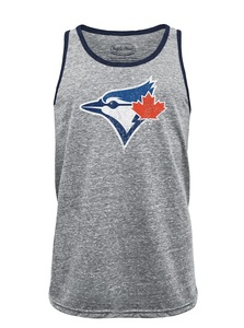 Toronto Blue Jays Triblend Contrast Tank Grey/Navy by Majestic Threads