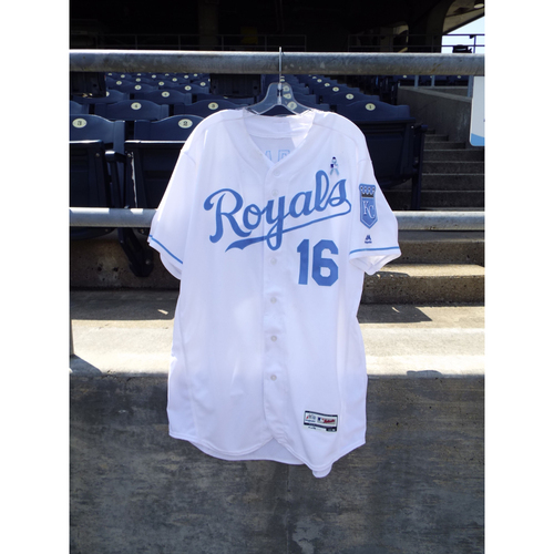 Photo of Game-Used Paulo Orlando Father's Day Jersey (Size 48) 6/19/16