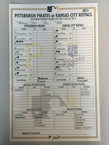 Photo of Game-Used Lineup Card from Pirates vs. Royals on 7/22/2015