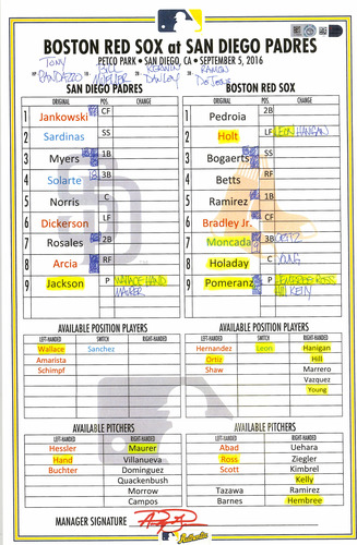 Photo of San Diego Padres Replica  Lineup Card Vs. Boston Red Sox On September 5, 2016. Ortiz's last At-Bat in San Diego