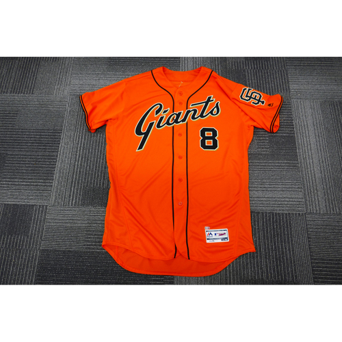 Photo of San Francisco Giants - 2017 Game-Used Orange Alt Jersey - worn by #8 Hunter Pence on 9/29/17 - 1-4, Triple, 2 Runs, 1 BB - (Size: 48)