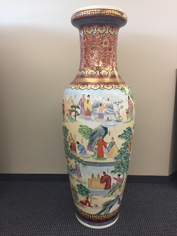 5 foot Chinese printed porcelain vase for Easter Seals Ontario