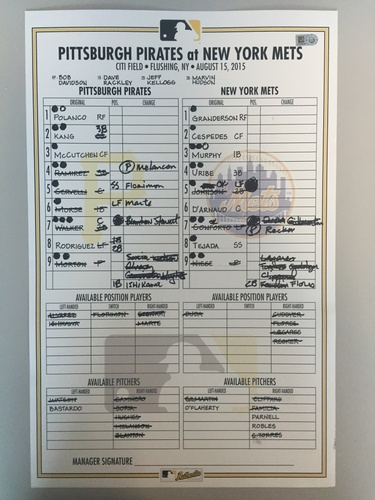 Photo of Game-Used Lineup Card from Pirates vs. Mets on 8/15/2015