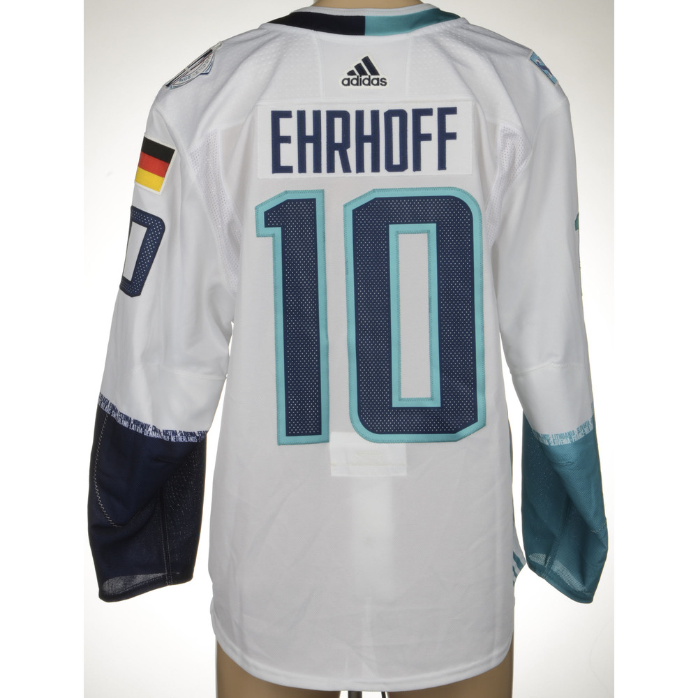 Christian Ehrhoff Game-Worn 2016 World Cup of Hockey Team Europe Jersey, Worn In Semifinal Game Against Team Sweden On September 25th