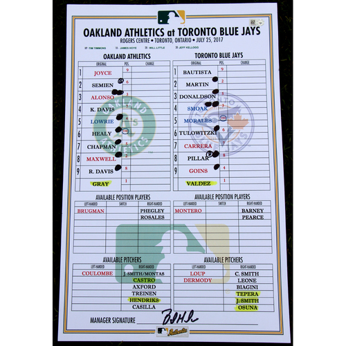 Photo of Game-Used Dugout Lineup Card from 7/25/17 vs TOR - Sonny Gray's Last A's Start