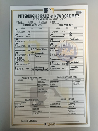 Photo of Game-Used Lineup Card from Pirates vs. Mets on 8/16/2015