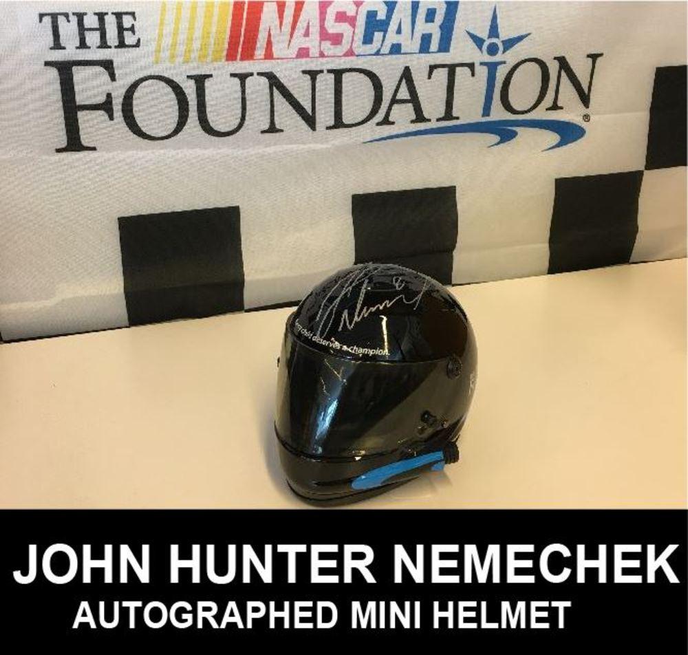 John Hunter Nemechek Autographed Mini Helmet at Daytona 2017