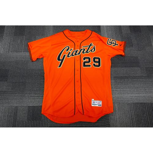 Photo of San Francisco Giants - 2017 Game-Used Orange Alt Jersey - worn by #29 Jeff Samardzija on 9/15/17 - 8.0 IP, 7 K's - (Size: 50)