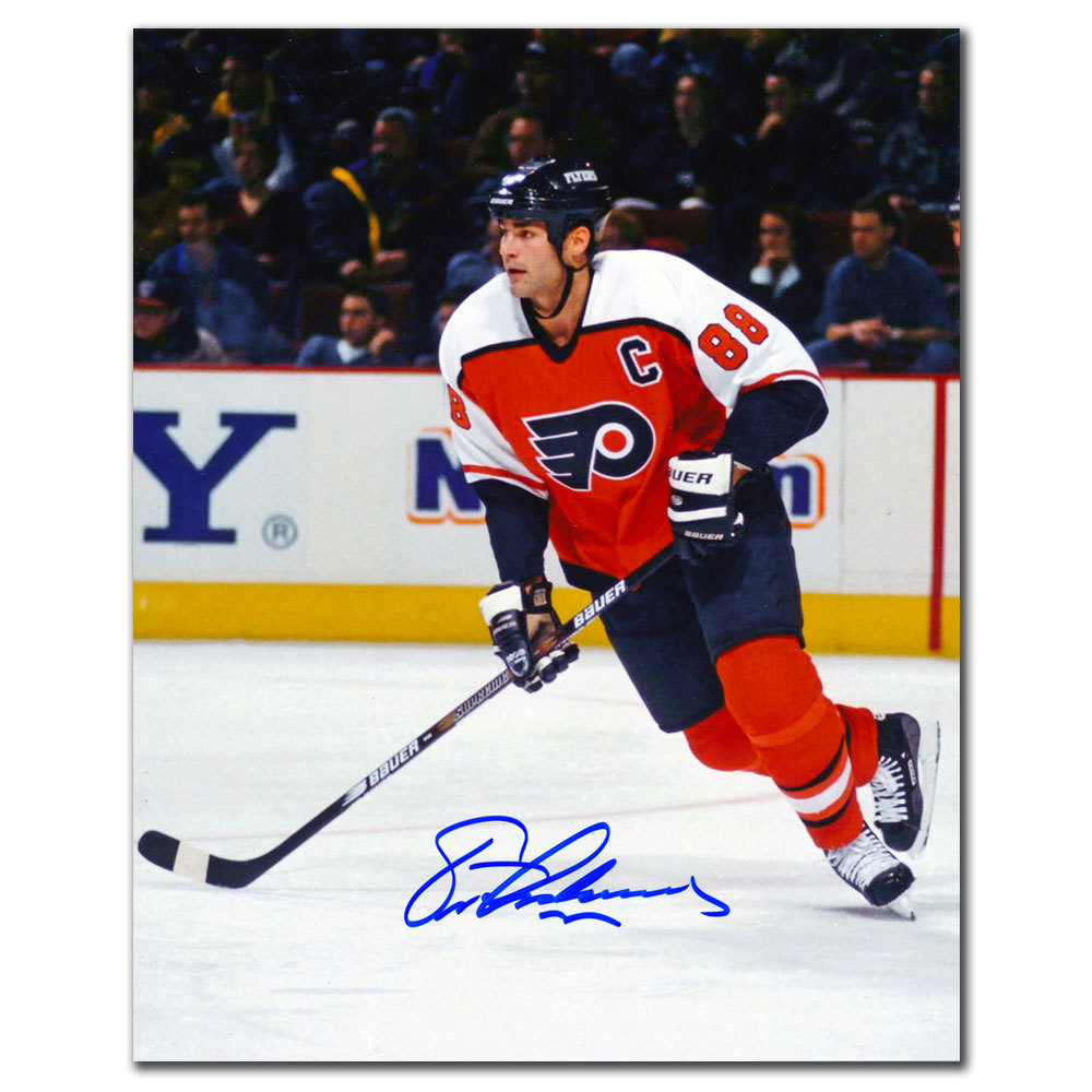 Eric Lindros Philadelphia Flyers ORANGE CRUSH Autographed 8x10