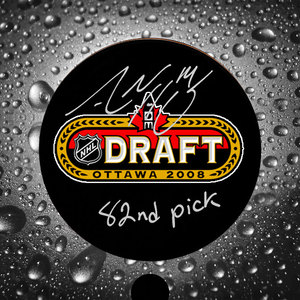 Adam Henrique 82nd Pick 2008 NHL Draft Day Autographed Puck