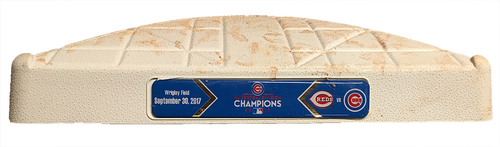 Photo of Game-Used 2nd Base -- Cubs vs Reds -- 9/30/17 -- Used Innings 5 & 6