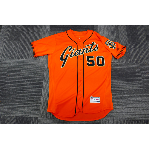Photo of San Francisco Giants - 2017 Game-Used Orange Alt Jersey - worn by #50 Ty Blach on 9/29/17 - (Size: 46)