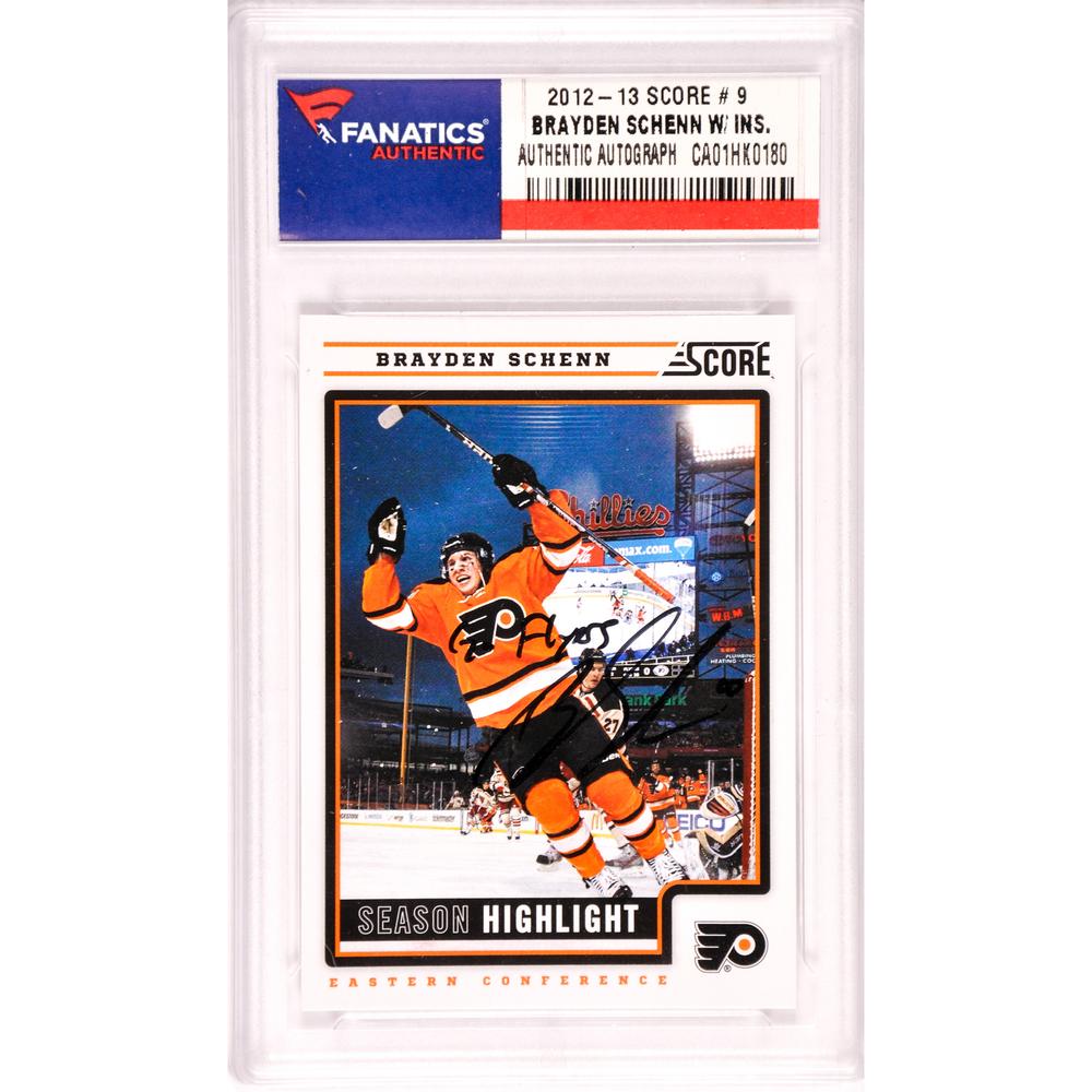 Brayden Schenn Philadelphia Flyers Autographed 2012-13 Score Season Highlight #9 Card with Go Flyers Inscription