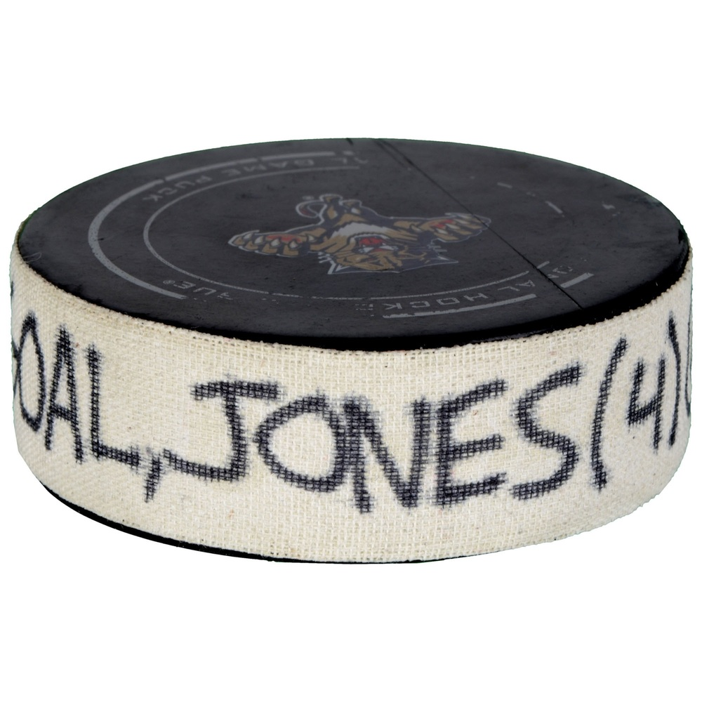David Jones Calgary Flames Game-Used Goal Puck from November 10, 2015 vs. Florida Panthers - First Goal of Two Goals Scored