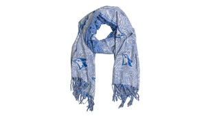 Logo Scarf With Tassles White/Royal by Gertex