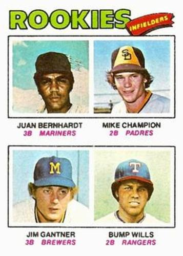 Photo of 1977 Topps #494 Rookie Infielders/Juan Bernhardt RC/Mike Champion RC/Jim Gantner RC/Bump Wills RC