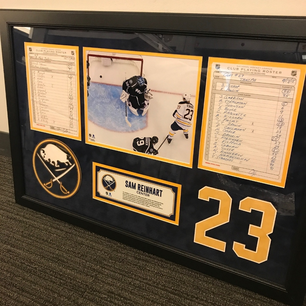 BUFFALO SABRES FRAMED ORIGINAL LINE-UP CARDS FROM OCTOBER 17, 2015 VS. TAMPA BAY LIGHTNING - SAM REINHART'S 1ST CAREER NHL GOAL