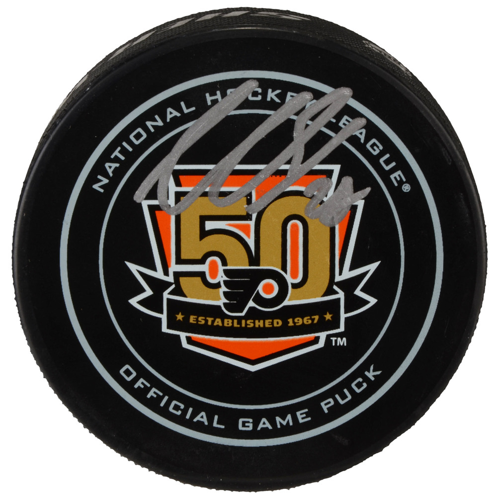 Claude Giroux Philadelphia Flyers Autographed 50th Anniversary Season Official Game Puck
