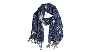 Logo Scarf With Tassles Navy by Gertex