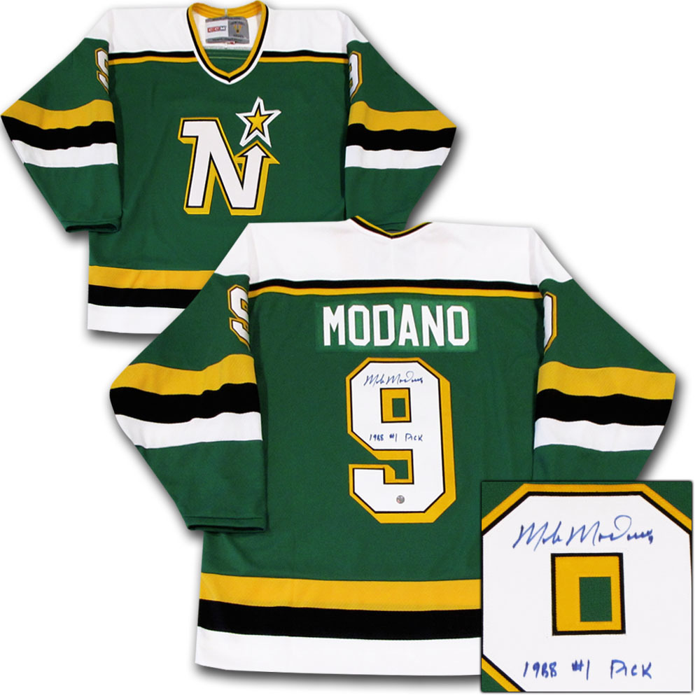 Mike Modano Autographed Minnesota North Stars Jersey w/1988 #1 PICK Inscription