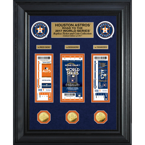 "Photo of Houston Astros 2017 AL Champions ""Road to the World Series"" Deluxe Gold Coin & Ticket Collection"
