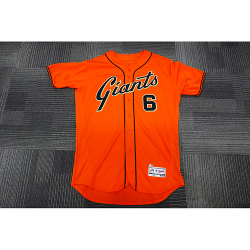Photo of San Francisco Giants - 2017 Game-Used Orange Alt Jersey - worn by #6 Jarrett Parker on 9/29/17 - 2-4  - (Size: 48)