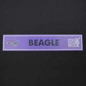 Jay Beagle - Washington Capitals - 2015-16 Hockey Fights Cancer Locker Room Nameplate