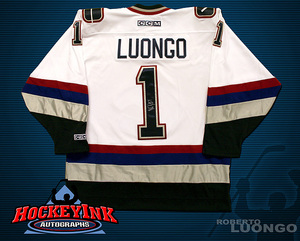 ROBERTO LUONGO Signed White Vancouver Canucks CCM Jersey