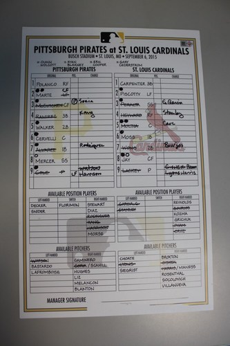 Photo of Game Used Lineup Card from Pirates vs. Cardinals on 9/6/2015