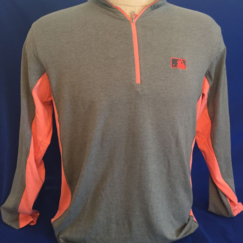 Photo of UMPS CARE AUCTION: MLB/UMPS CARE Logo Antigua Onyx Quarter-Zip Pullover, Light Gray with Papaya, Size L