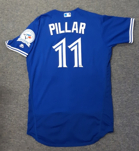 Photo of Authenticated Game Used Jersey - #11 Kevin Pillar (July 30, 2016). Pillar went 2-for-4 with 2 doubles and 4 RBIs.