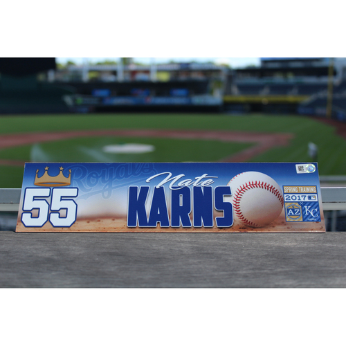 Photo of Nate Karns Team-Issued Spring Training Locker Name Plate