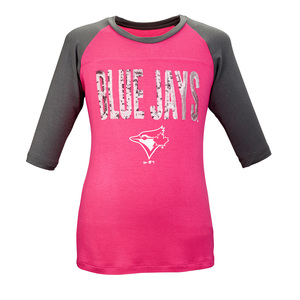 Toronto Blue Jays Youth Sequin 3/4 Raglan Sleeve Pink/Grey by Majestic
