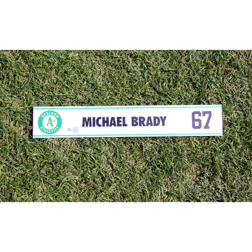 Photo of Michael Brady #67 2017 Spring Training Locker Nameplate