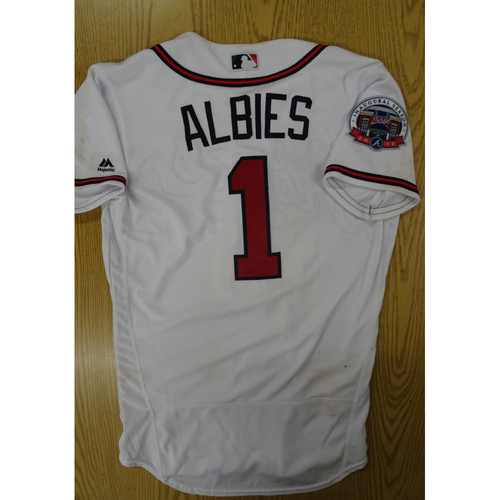 Photo of Ozzie Albies Game-Used Los Bravos Jersey - Worn 9/17/17 at SunTrust Park