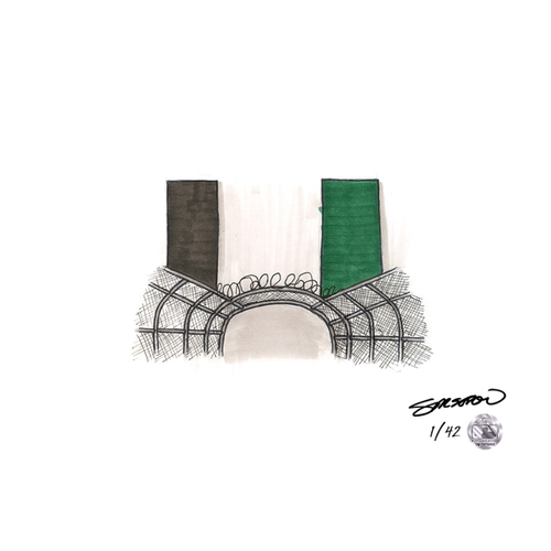 Photo of Oakland Coliseum Sketch - Limited Edition Print 1/42 by S. Preston