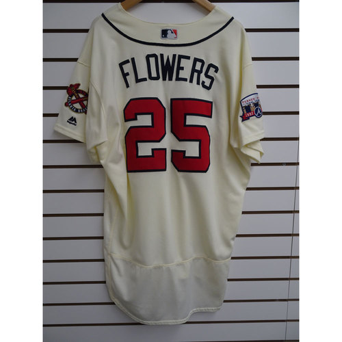 Photo of Tyler Flowers Game-Used Jersey Worn during the Final Game at Turner Field