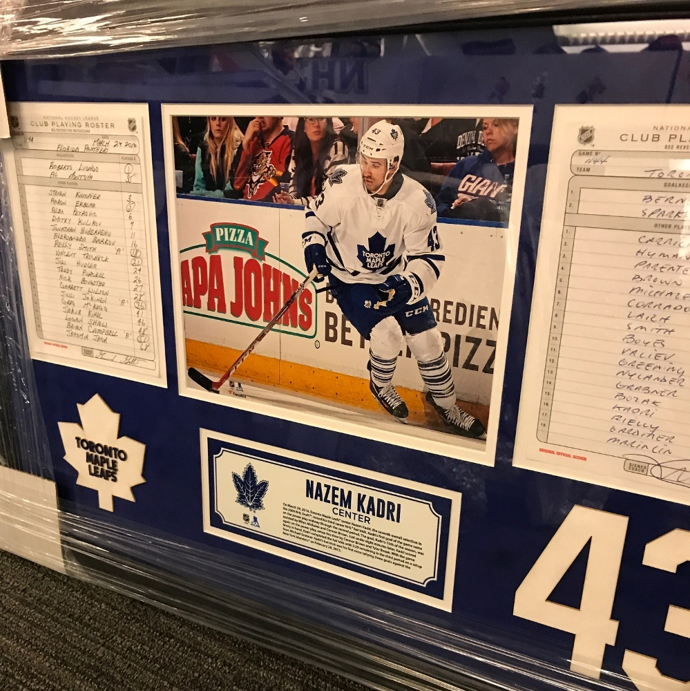 TORONTO MAPLE LEAFS FRAMED ORIGINAL LINE-UP CARDS FROM MARCH 29, 2016 VS. FLORIDA PANTHERS - NAZIM KADRI'S 3RD CAREER HAT TRICK
