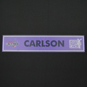 John Carlson - Washington Capitals - 2015-16 Hockey Fights Cancer Locker Room Nameplate